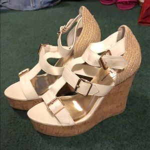 White Wedges with Gold Buckles